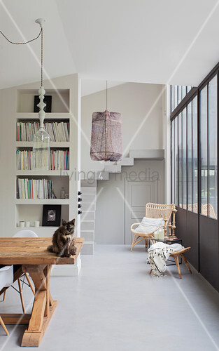 Cat on wooden table in dining area with concrete floor