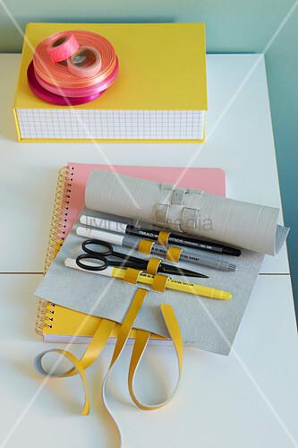 A leather DIY pencil case roll