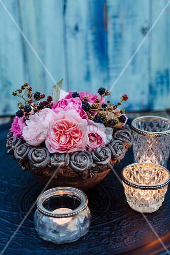 Arrangement Of Roses And Blackberries