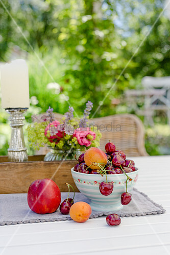 Bowl Of Cherries, Apricots And Nectarine