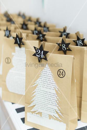 Advent calendar handmade from paper bags