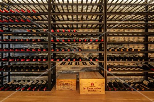 Wine cellar with wine racks