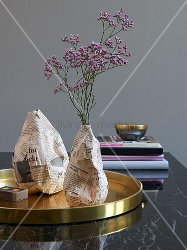 Homemade vases made of papier-mâché