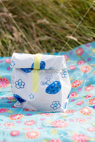 Handmade oilcloth lunch bag