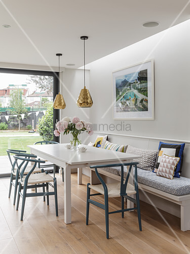 White Dining Table Clic Chairs And Image