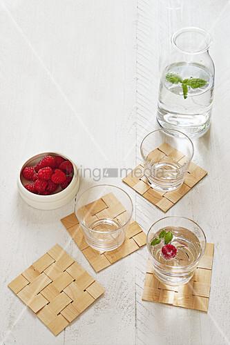Homemade woven veneer coasters