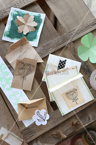 Hand-made seed packets with stitched edges