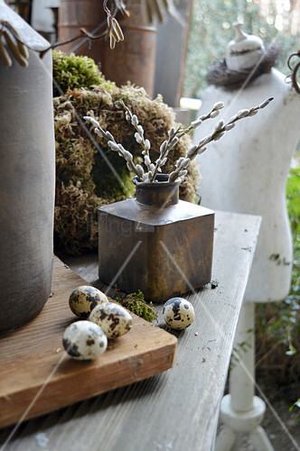 Decoration With Quail Eggs And Pussy Willow