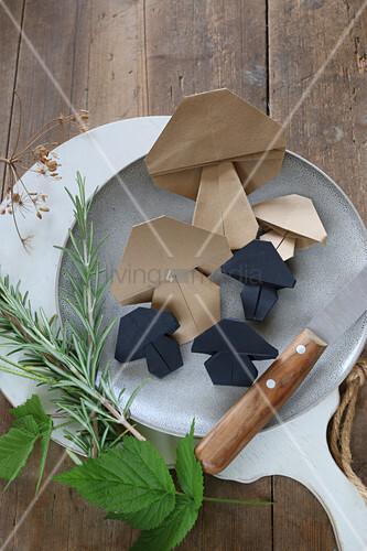 Origami mushrooms on plate