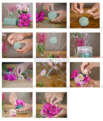 Blumenkugel aus Chrysanthemen und Erika herstellen