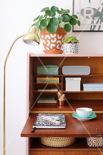 Retro Sekretär, restauriert mit rosa Ablagefläche und Seitenwand, darauf Zimmerpflanzen