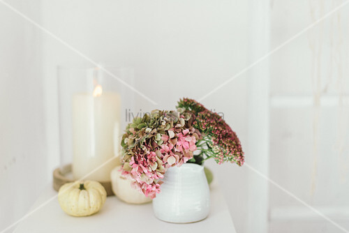 Autumnal arrangement of hydrangeas, pumpkins and candle lantern
