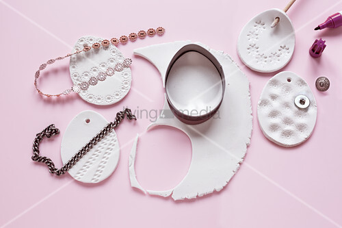 Instructions for making modelling clay eggs with embossed patterns