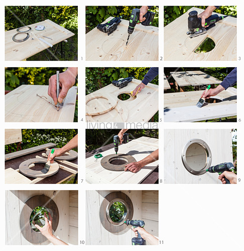 Instructions for making a porthole window in DIY wooden beach chair