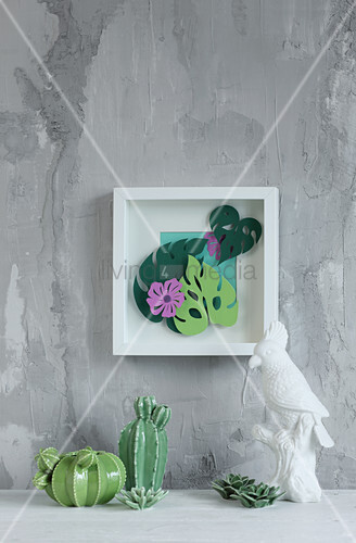 Topical 3D picture with paper leaves and flowers
