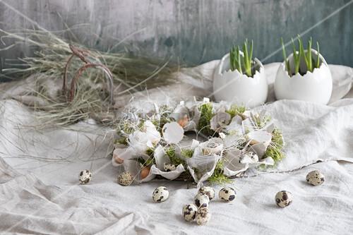 Easter wreath of egg box segments, egg shells and moss