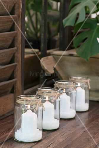 DIY candle lanterns made from mason jars and sea salt