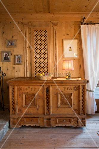 Traditional wooden trunk in Swiss farmhouse