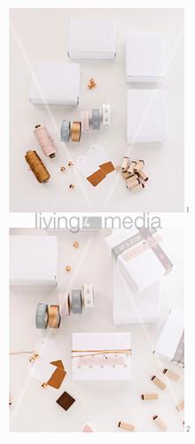 Weiße Schachteln werden mit Masking Tape und Garn dekoriert