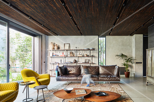 Living room in earthy shades in modern, architect-design house