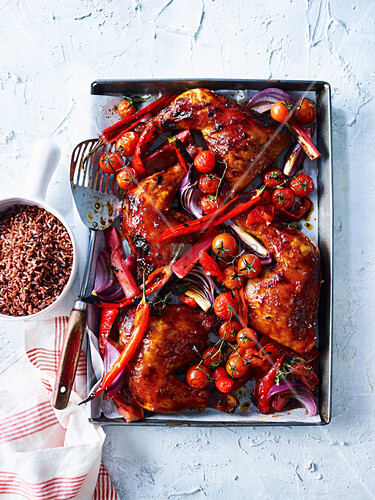 Chicken Tray Bake with Rhubarb, Capsicum and Chilli