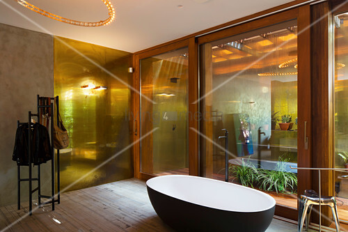 Free-standing bathtub in bathroom with glass walls