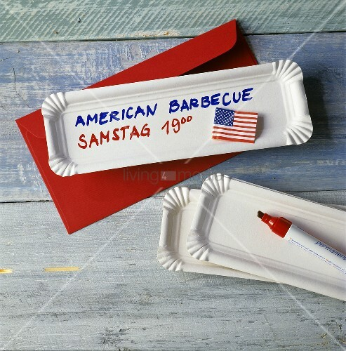 Invitation to American barbecue on a paper plate