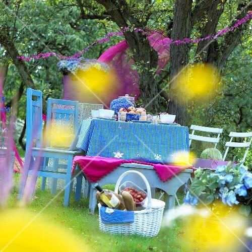 Gedeckter Tisch Im Garten: Gedeckter Tisch Fürs Picknick Im Garten