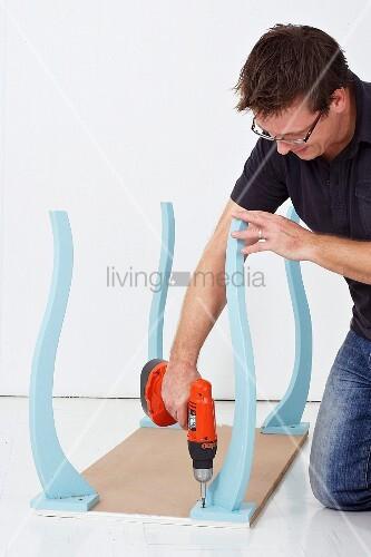 wandkonsole selber bauen tischbeine an bild kaufen. Black Bedroom Furniture Sets. Home Design Ideas