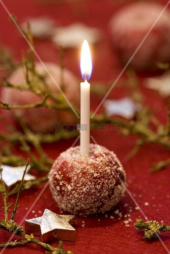 Sugared apple used as candle holder