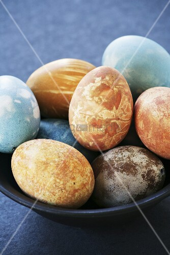 Easter eggs, dyed with natural dyes