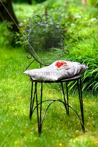 A slice of strawberry and vanilla cake on a garden chair