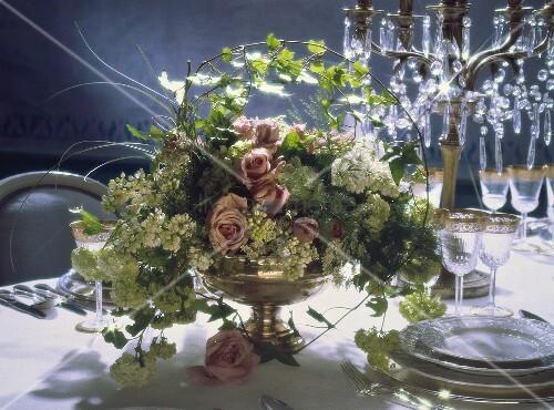 Festive Flower Arrangement on a Wedding Table