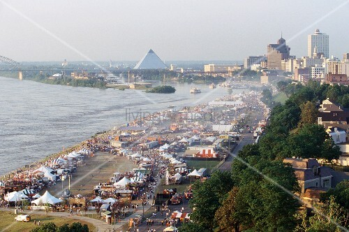 World's biggest Barbecue Festival, Memphis TN (aerial shot)