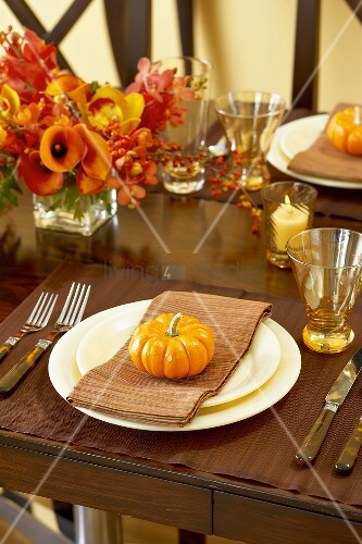 Place Setting with Gourd at Thanksgiving Dining Table
