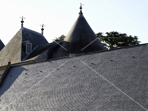 Roof landscape - gray tile roofs in a variety of shapes